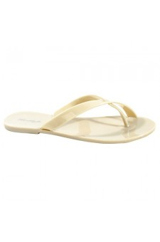 Women's Nude Manmade Saona Flat Jelly Sandal with Crisscross Thong Strap