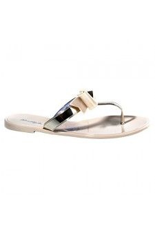 Women's Beige Craze Manmade Flat Jelly Sandal with Glowing Bow Accent