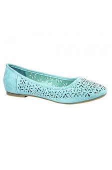 Women's Mint Manmade Loyalty Ballerina Flat with Shimmering Jewel Accents