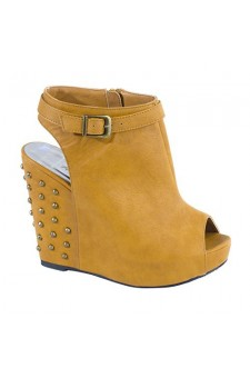 Women's Cognac Jamily Manmade Buckled Wedge Heel with Studded Back