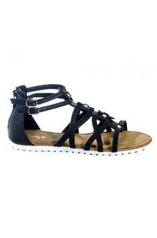 Women's Black Manmade Gwennaa Gladiator Sandal with Metallic Studs