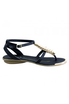 Women's Black Bazooka Thong Sandal with Gold Toned T-Strap