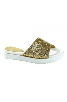 Women's Gold Manmade Shearly Low Wedge Sandal with Glitzy Upper