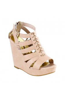 Women's Mauve Krandi 5-inch Manmade Wedge with Lace-up Strappy Vamp
