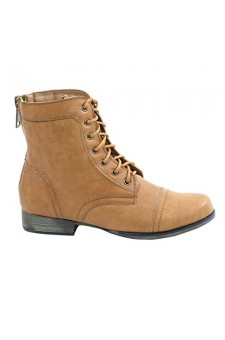 Women's Cognac Ferrara Manmade Ankle Boot with Faux Back Zipper