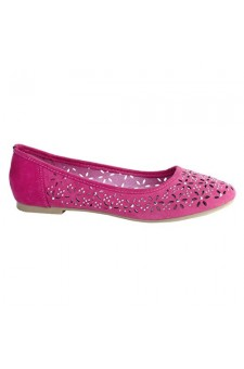 Women's Fuchsia Manmade Loyalty Ballerina Flat with Shimmering Jewel Accents