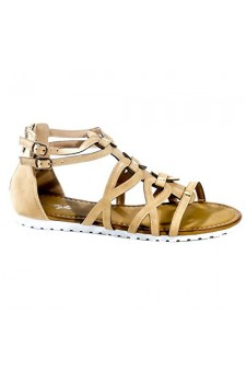 Women's Cognac Manmade Gwennaa Gladiator Sandal with Metallic Studs