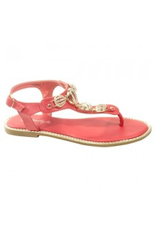 Women's Rose Pink Manmade Fickkle T-Strap Sandal with Bejeweled Gold-Tone Metallics