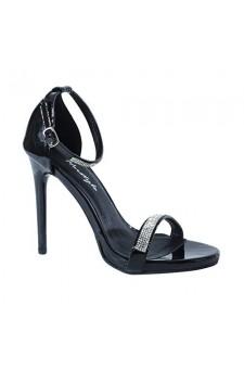 Women's Black Aicha 5-inch Heeled Sandal with Glittering Rhinestone Bands