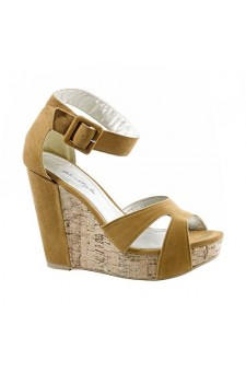 Women's Tan Nadiya Manmade Wedge Sandal with Stylish Toe Straps