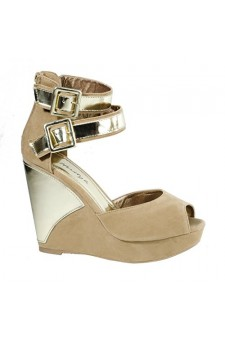 Women's Camel Lauuriin Manmade Wedge Sandal with Gold-Tone Ankle Wrap