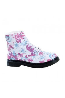 Women's White Flower Gimmicckkee Manmade Floral Canvas Bootie