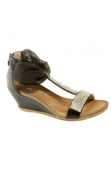 Women's Black Manmade Siminal Cuffed Wedge with Glittering Straps