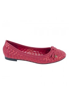 Women's Red Frreida Manmade Quilted Ballet Flat with Accented Bow