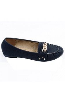 Women's Black Kaylen Manmade Moccasin Flat with Studded Twist