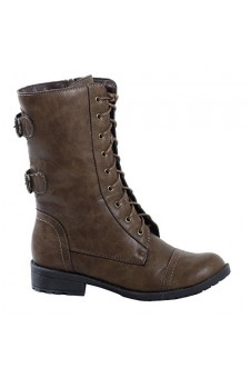 Women's Khaki Manmade Levanna Ankle Boot with Side Buckle Accents
