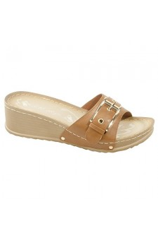 Women's Cognac Manmade Jillyy Slide Sandals with Gold-Tone Toe Buckle