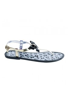 Women's Black Deor Manmade Jelly Sandal with Charming Bow