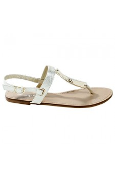 Women's Gold Manmade Viestte Textured Strap Sandal with Gold-Tone Accents