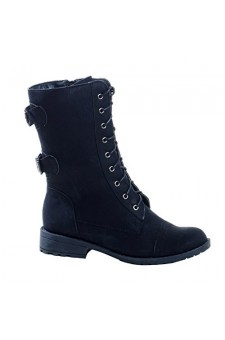 Women's Black Manmade Levanna Ankle Boot with Side Buckle Accents