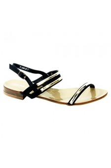 Women's Black Manmade Rosewood Flat Sandal with Gold-Tone Strap Accents