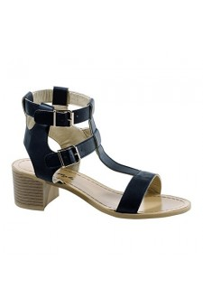 Women's Black Carson Manmade Heeled Sandal with Stylish Double Buckle
