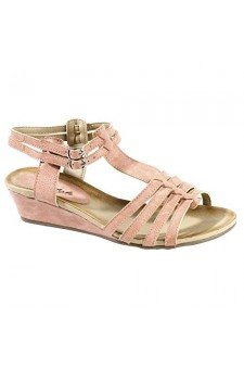 Women's Mauve Carey 2-inch Manmade T-Strap Wedge with Multi-Strap Design