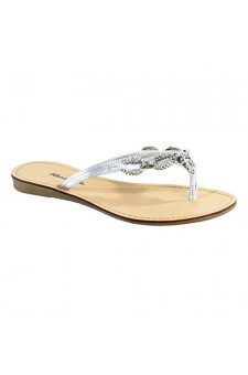 Women's Silver Janiesa Manmade Flat Thong Sandal with Glowing Jeweled Chain