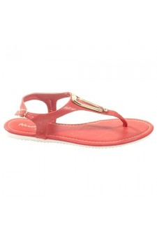 Women's Coral Manmade Monttank T-Strap Sandal with Gold-Tone Adornment