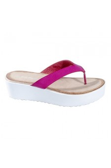 Women's Fuchsia Manmade Sassyy Wedge Thong with Cushioned Sole