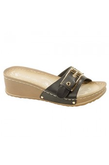 Women's Black Manmade Jillyy Slide Sandals with Gold-Tone Toe Buckle