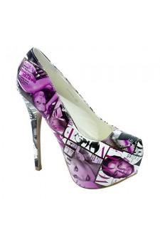 Women's Purple White Manmade Dammarra 6-inch Platform Heel with Trendy Print Collage Upper