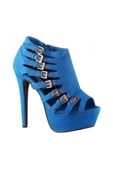 Women's Royal Blue Imera 6-inch Stiletto Platform Strappy Booties with Bold Buckles