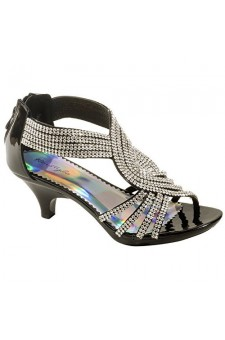 Women's Black Manmade Saasssy Low Heeled Sandal with Shimmering Rhinestone Vamp