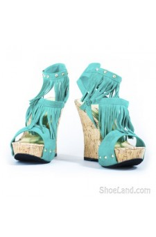 Women's Green Meekaa Fringed Manmade 5-inch Wedge Sandal with Studded Straps