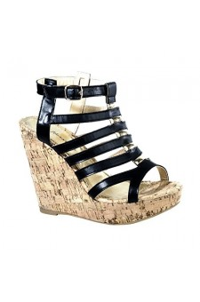 Women's Black Auden Platform Wedge with Gladiator Inspired Caged Vamp