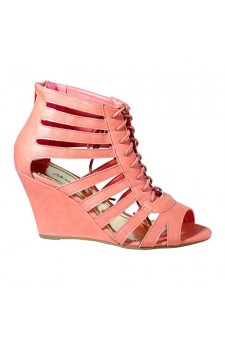 Women's Coral Cattie Manmade Mid-Heel Wedge Sandal with Sexy Cut-out Vamp