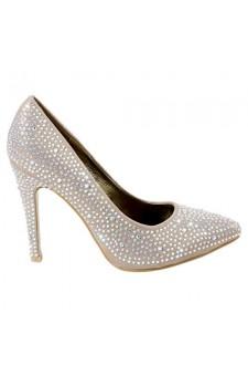 Women's Champagne Serissa Manmade Rhinestone Bedecked Stiletto Heel