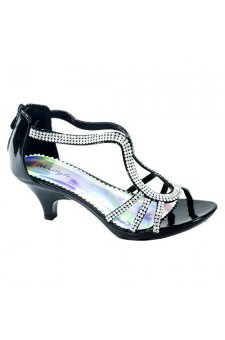 Women's Black Manmade Madyra Elegant Low Heeled Sandal with Rhinestone Straps