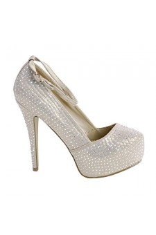 Women's Gold Konnect Manmade Platform Pump with Rhinestone Glitter
