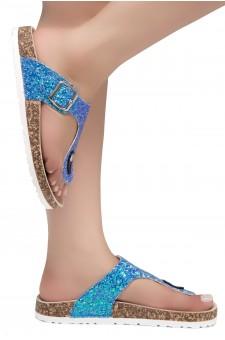HerStyle SOFTEY-Open Toe Buckled Cork Slide Sandal(1896 RoyalBlueGlitter)