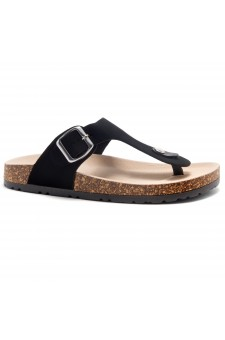 HerStyle Abella-Stud and Buckle Accent Flip Flops (Black)