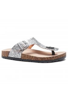 HerStyle SOFTEY-Open Toe Buckled Cork Slide Sandal(1896 SilverGlitter)