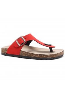 HerStyle SOFTEY-Open Toe Buckled Cork Slide Sandal(1896 RedNU)