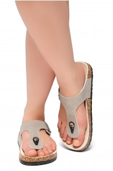 HerStyle Abella-Stud and Buckle Accent Flip Flops (Taupe)