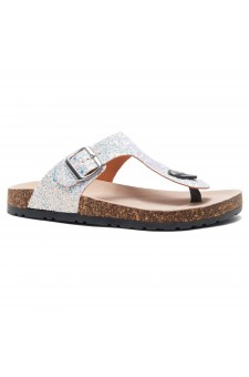 HerStyle Abella-Stud and Buckle Accent Flip Flops (White Glitter)