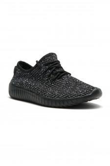 Herstyle Women's Manmade  Addon  Spec Flyknit Contrast Sneakers - Black/White