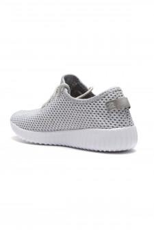 Herstyle Women's Manmade  Addon  Spec Flyknit Contrast Sneakers - Grey/White