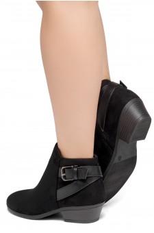 Shoe Land Adrerinia- Low Stacked Heel Almond Toe Booties (Black/Black)