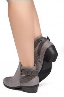 Shoe Land Adrerinia- Low Stacked Heel Almond Toe Booties (Grey/Grey)